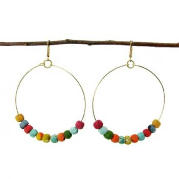 Kantha Earring, Beaded Hoop